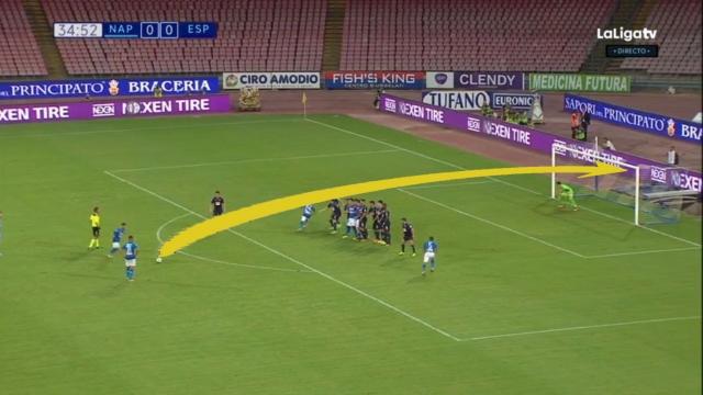 Pha sút phạt mẫu mực của Dries Mertens khiến thủ môn chôn chân đứng nhìn