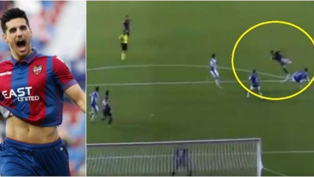 Hậu vệ Levante ghi siêu phẩm volley gây mê mẩn
