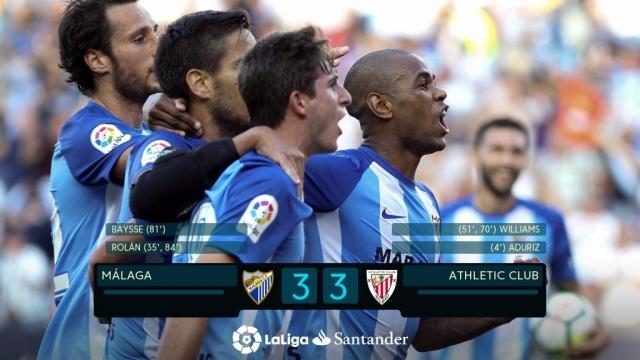 Malaga 3-3 Athletic Bilbao (Vòng 6 La Liga 2017/18)