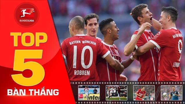 Thiago dẫn đầu top 5 bàn thắng đẹp nhất vòng 8 Bundesliga