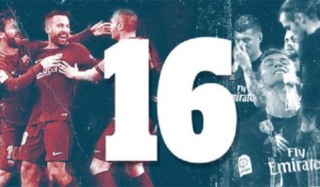 16 khác biệt tạo ra khoảng cách giữa Barca và Real