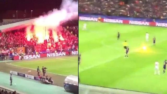 SỐC: Trọng tài ở Champions League bị CĐV tấn công bằng pháo sáng